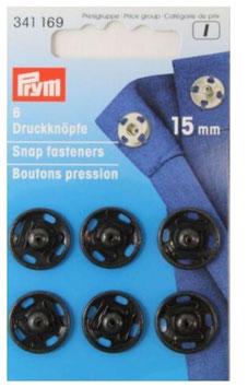 Druckknöpfe zum Annähen, Metall, schwarz, Prym 341169, rund, 15 mm, 6 Stück