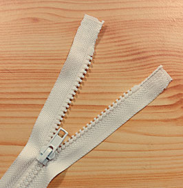 YKK Kunststoff Reißverschluss, teilbar, 1 Stück, 35 cm, naturweiß 841