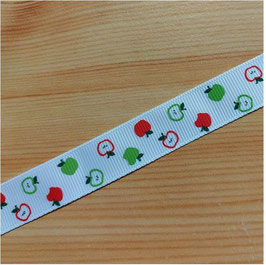 Ripsband, Geschenkband, 18 mm, weiß, bunte Äpfelchen, 2 Meter