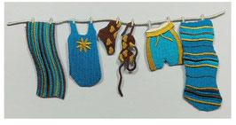 Sommer-Wäscheleine in türkis, zum Aufbügeln, 16 x 7 cm