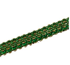 Brokatborte, Glitzerborte mit Lurex, grün-gold,15 mm, 1 Meter