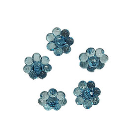2 Stück, Schmuck-Knopf, Ösenknopf, Blume, blautürkis, 20 mm