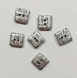 2 Stück, Metallknopf,  Ösenknopf, altsilber, eckig, 13 x 13 mm