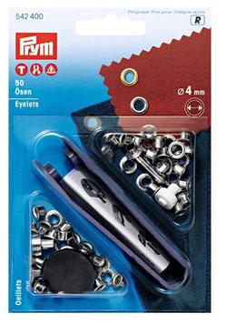 Prym 542400, Ösen, Metall, silber, 4 mm, 50 Stück