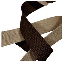 Hochwertiges Gurtband, starker Zug, beige-braun Töne, 30 mm, 1 Meter