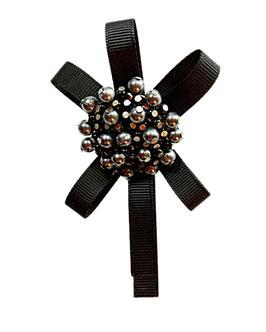 Designer Brosche, große Metall Rosette, schwarz, für Hut, Landhaus, Kostüm, 1 Stück