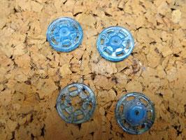 Druckknopf zum annähen, blau-türkis