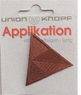 Dreieck Sticker zum Aufbügeln, bestickt, rostbraun, Größe 45 x 45 mm, 1 Stück