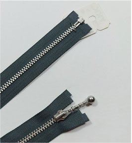 YKK Metall Reißverschluss silber teilbar mit Kugelstab, 50 cm, grau 182