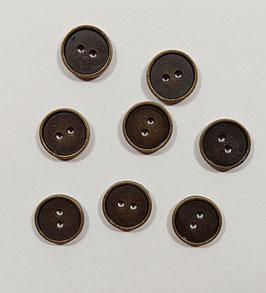 2 Stück, Metallknopf,  Jeansknopf, Messing, rund, matt, 14 oder 18 mm