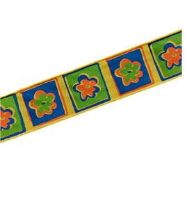 Dekoband, Ripsband Borte zum Verzieren, 25 mm, gelb-blau-grün, 2 Meter