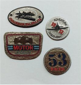 Vintage Designer Sticker in Leder Optik, hell braun, von 3 bis 6 cm groß, 4-er Set