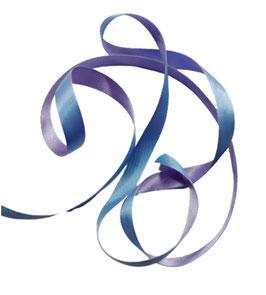 Satinband - Borte zum Verzieren, 12 mm, zweifarbig, hellblau-flieder, 3 Meter