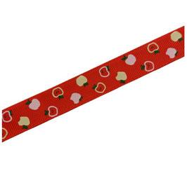 Ripsband, Geschenkband, 18 mm, rot, bunte Äpfelchen, 2 Meter