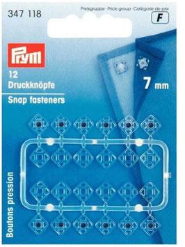 Druckknöpfe zum Annähen, transparent, Prym 347118, eckig, 7 mm, 12 Stück