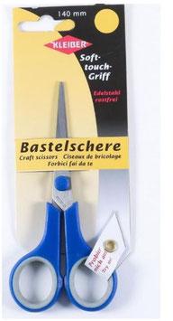 Kleiber, 92133, Bastelschere, Soft-touch-Griff, Metall, blau, 14 cm lang