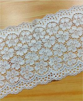 Reduziert, extra breite elastische Spitzenborte, 150mm, weiß, 1 Meter