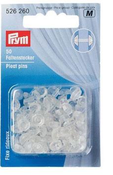 Prym 526260, Kunststoff Faltenstecker für Gardinen, 8 mm lang, 50 Stück