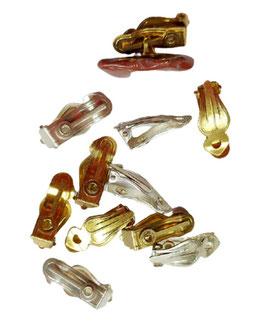 Ohrringe selber machen mit Ohrclips mit Fächer und Öse , versilbert oder vergoldet, 17 mm, 2 Stück