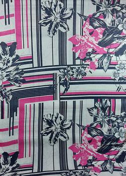 Designer Leinen, Aquarell Muster, weiß-anthrazit-pink  50 cm