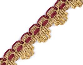 Polsterborte aus Italien das klassische Handwerk, gold-bordeaux, 22 mm, 1 Meter