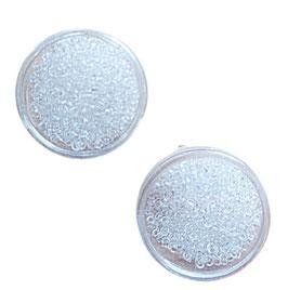 Rocailles aus Glas, transparent, 2 mm, Döschen mit 12 g