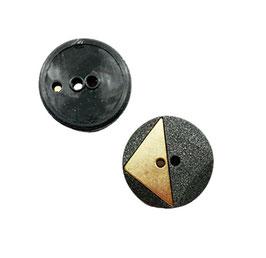2 Stück, 2 Loch Designer Knopf, anthrazit mit Goldmetall, 30 mm