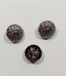 2 Stück, Metallknopf,  Ösenknopf, altsilber, rund glänzend, 25 mm