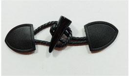 1 Stück, Knebelverschluss, Dufflecoat Verschluss, echt Leder in schwarz, 17 cm