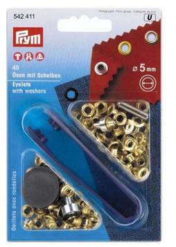 Prym 542411, Ösen, Metall, gold, 5 mm, 40 Stück