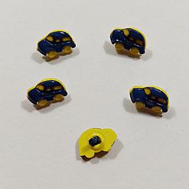 2 Stück, Kinderknopf, Auto Käfer, marine-gelb  15 x 10 mm