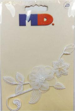 Sticker, Blütenranken in weiß, zum Annähen oder Aufbügeln, 13 x 6 cm, 1 Stück