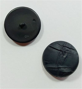 1 Stück, Ösenknopf, Designerknopf, rund, Lederoptik, schwarz, matt, 30 mm