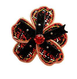 Designer Brosche in Chanel Stil, schwarz-rot, 1 Stück