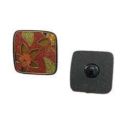 1 Stück, Ösenknopf, Designerknopf, Blumenmosaik in ocker, eckig, 25 x 25 mm