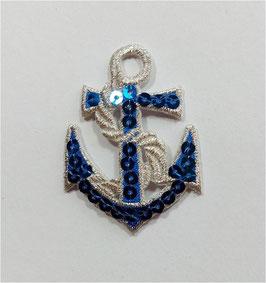 weiß-blaue Designer Sticker, Anker, Pailletten, 6,5 cm, 1 Stück