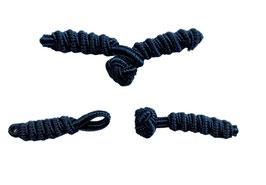 2 Stück, Chinesische Verschluss, Knebelverschluss, zum Annähen, marine, 45 x 20 mm
