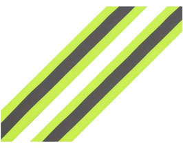 Ripsband-Reflexband, neongrün-silber, 25 mm, 2 Meter