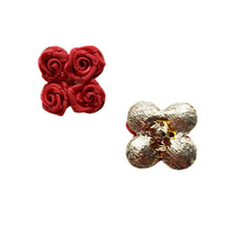 1 Stück, Ösenknopf, Designer Knopf mit Röschen, Farbe rot, 20 mm