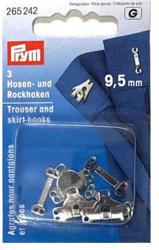 Prym 265242, Hosen und Rockhaken, Metall, silber, 9,5 mm, 2 Stück