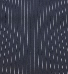 Reststück, Nadelstreifen, Wollkrepp, marine-weiß, 1 Meter
