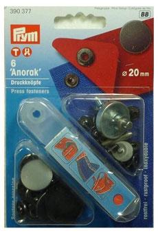 Anorak, Druckknöpfe, robust, Metall, schwarz, 20 mm, 6 Stück