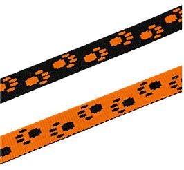 Gurtband, Pfotenmotiv, starker Zug, neon-orange-schwarz, 15 mm, 3 Meter