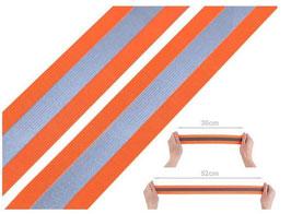 Hochwertiges Reflex-Gummiband, neonorange-silber, 40 mm breit, 1 Meter