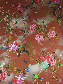 Reduziert, Jersey, Paradies Blume mit Birds,  Batik