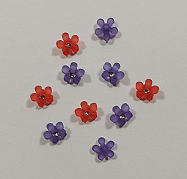 2 Stück, Schmuck-Knopf als Blümchen mit Glitzersteinchen, rot oder lila, 15 mm