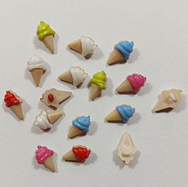 2 Stück, Kinderknopf, Eis in Waffel, mehrere Farben, 20 x 9 mm