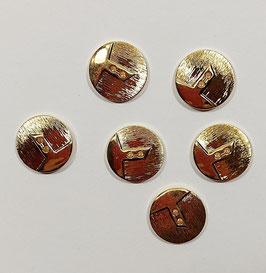 2 Stück, Metallknopf,  Zweilochknopf mit Dekor, gold, rund, glänzend, 23 mm