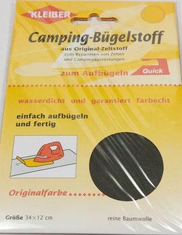Camping- Bügelstoff aus Original-Zeltstoff, 34 x 12 cm, Farbe khaki dunkel