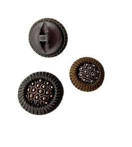 Letzte 4 Stück, Posamenten Designer Knopf mit Perlen, Farbe braun